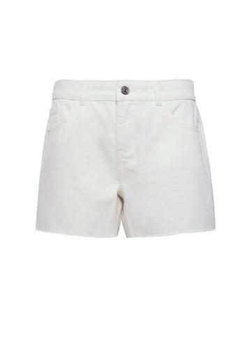 Womens White Raw Hem Boy Denim Shorts