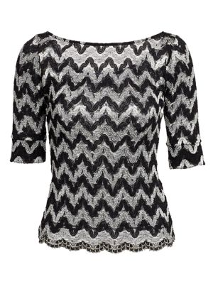 Zig-Zag Squiggle Lace Knit Bateau Top loving the sales