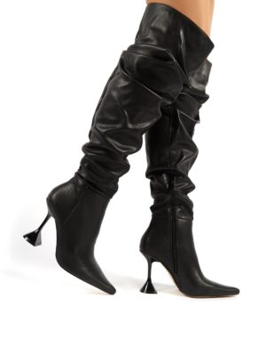 Adalee  Pu Statement Heeled Slouch Over The Knee Boots