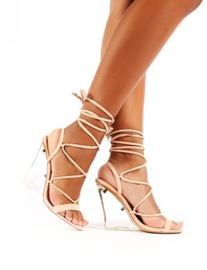 Carnival  Faux Suede Lace Up Perspex Wedge Heels