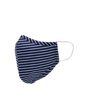 Navy White Stripe Printed Cotton Face Mask loving the sales