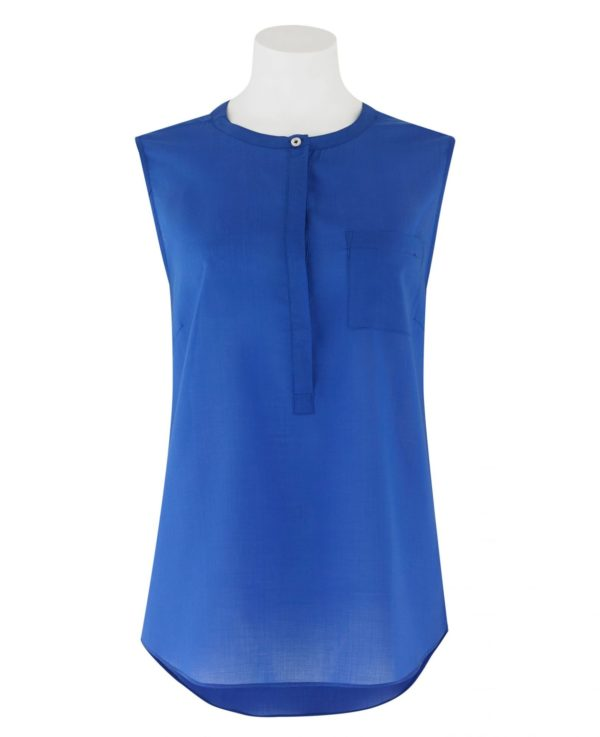 Women's Royal Blue Tencel Semi-Fitted Sleeveless Blouse 14 loving the sales