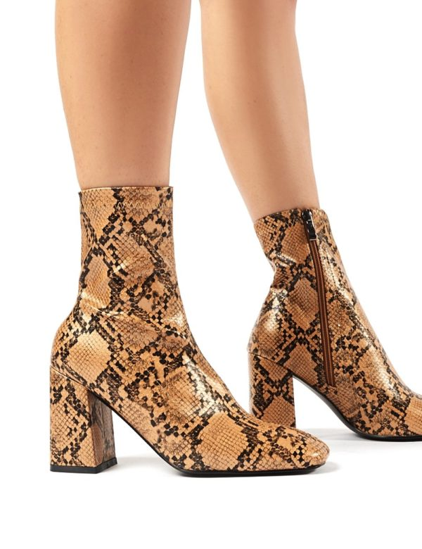 Addict  Snakeskin Sock Fit Block Heeled Ankle Boots