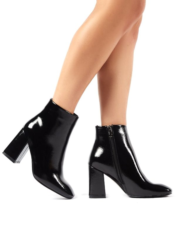Aimee  Crinkle Patent Square Toe Block Heeled Ankle Boots