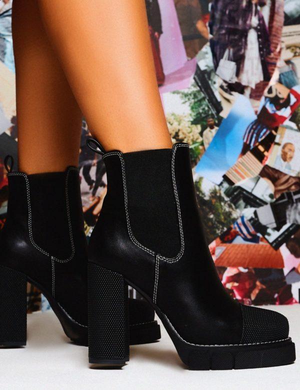 Antix  Contrast Stitch Platform Block Heeled Ankle Boots