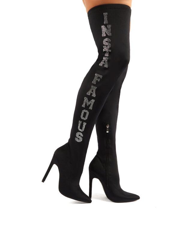Authority  Diamante Slogan Heeled Over The Knee Boots