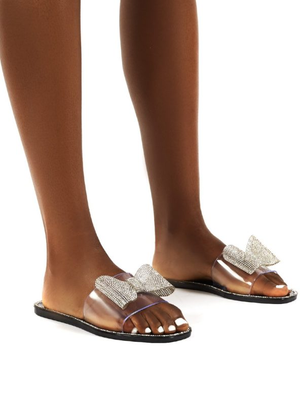 Bobbie  Perspex Diamante Detail Bow Flat Sandals