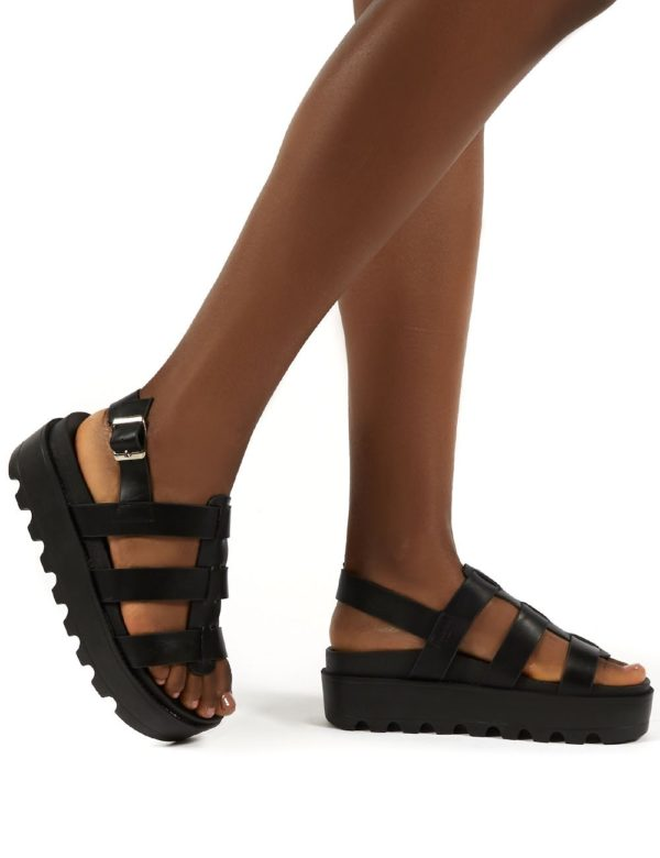 Coco  Pu Triple Strap Gladiator Platform Sandals