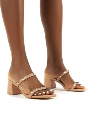 Forever  Square Toe Studded Strap Pu Block Heel Mule Sandals