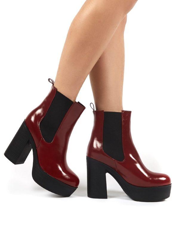 Lacey Burgundy Pu Chelsea Boot Heels loving the sales