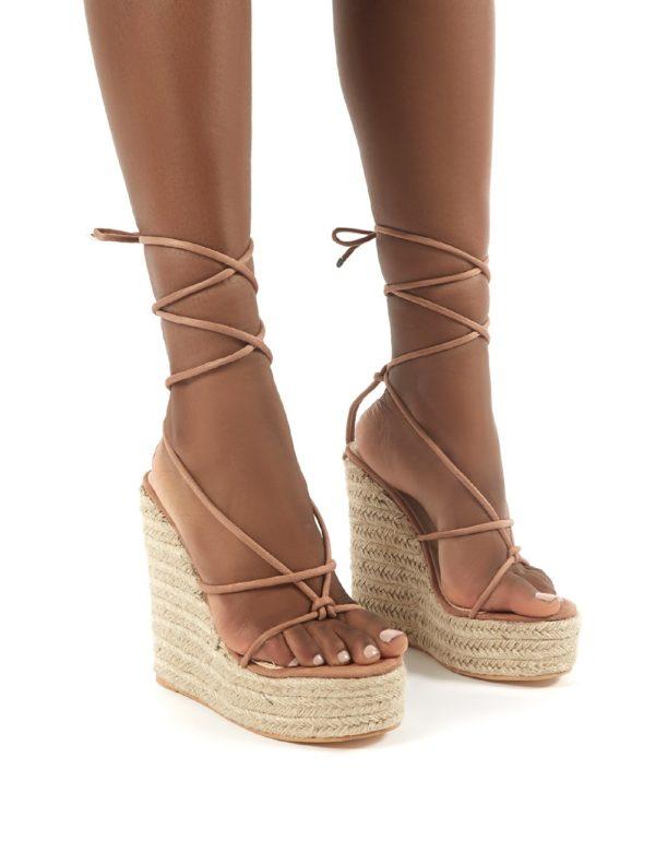 Luciana Mocha Espadrille Lace Up Heeled Sandals