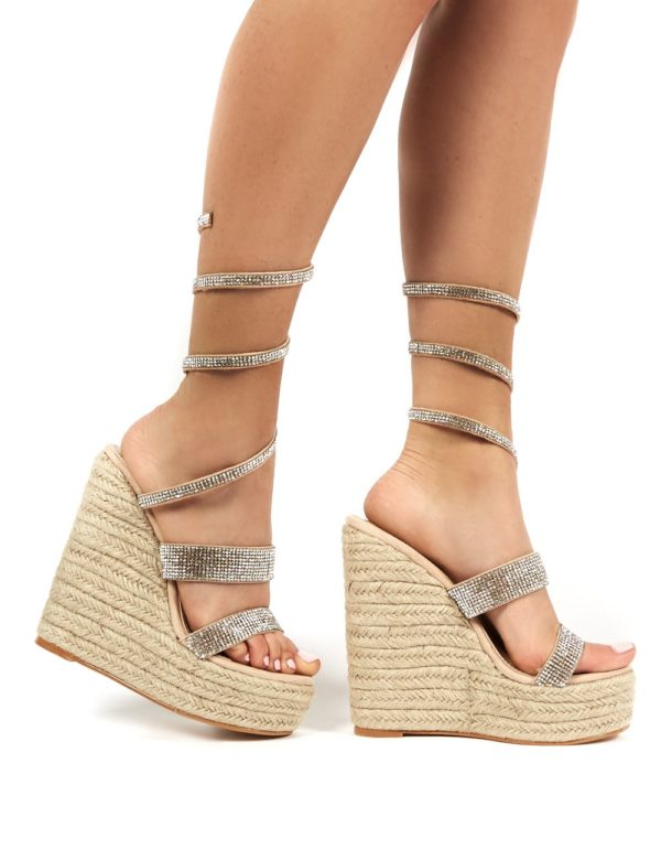 Lux  Wrap Around Diamante Wedged Heel
