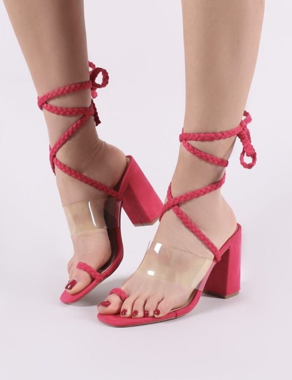Mia Lace Up Block Heeled Sandals In Fuchsia Faux Suede