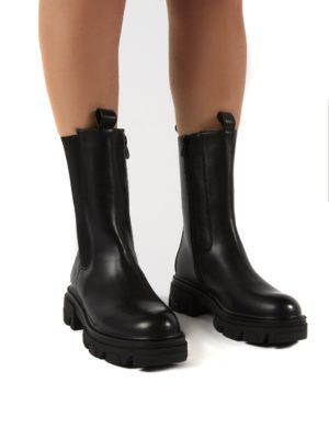 Recess  Pu Chunky Sole Calf High Boots