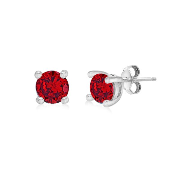 Silver January Red Cubic Zirconia Stud Earrings loving the sales