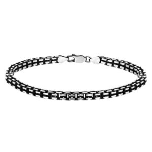 Sterling Silver Mens 8 Inch Oxidised Box Bracelet loving the sales